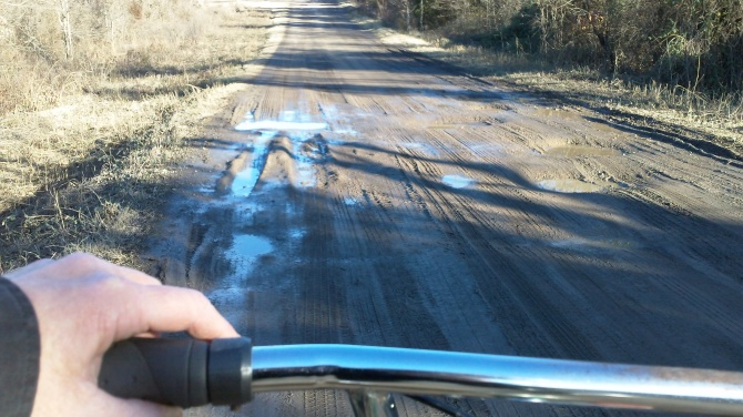 cycling a mud road