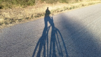 a shadow of me cycling down a farm road