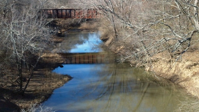 a trestle and its reflection